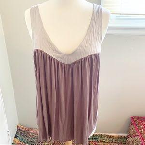 Velvet Brand Purple Tank/w 100% silk contrast